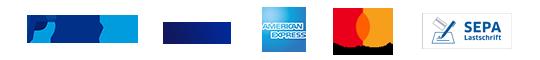paypal, visa, american express, mastercard, sepa